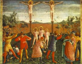 Beato Angelico – Crocefissione dei santi Cosma e Damiano, predella della Pala di San Marco (Alte Pinakothek – Monaco di Bav