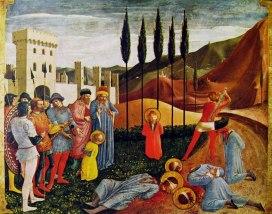 Beato Angelico – Decapitazione dei santi Cosma e Damiano, predella della Pala di San Marco (Museo del Louvre - Parigi; temper