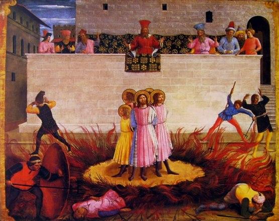 Beato Angelico 'Äì Condanna al rogo dei santi Cosma e Damiano, predella della Pala di San Marco (National Gallery of Ireland 'Ä[1]