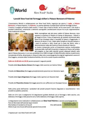 I Presìdi Slow Food dei formaggi siciliani a Palazzo Bonocore. Palermo, 1Luglio
